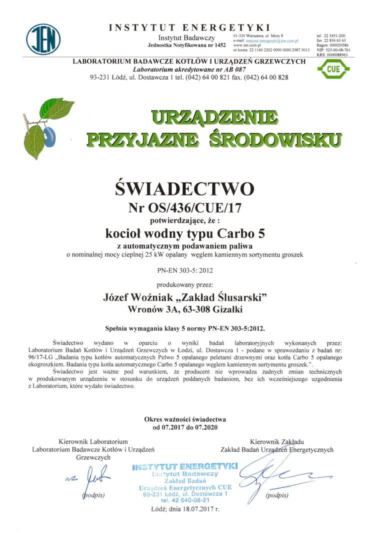 Certyfikat 5 klasy dla automatycznego kotła na ekogroszek Carbo 5, wystawiony przez akredytowane laboratorium badawcze.