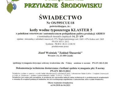Certyfikat 5 klasa dla kotła z podajnikiem na ekogroszek typu KLASTER 5 o mocy 14 i 23 kW. Kotły na dotacje w ramach walki ze smogiem.