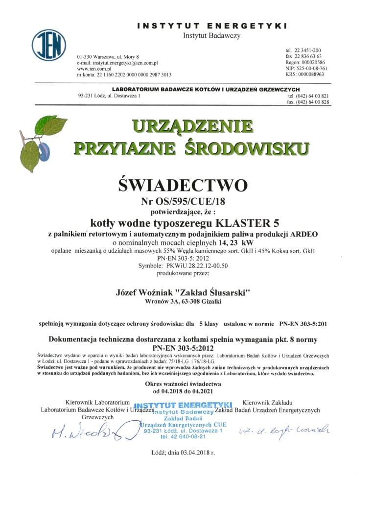 Dokument potwierdzający spełnienie przez kocioł na ekogroszek Klaster 5 wymagań 5 klasy wg normy PN-EN 303-5:2012