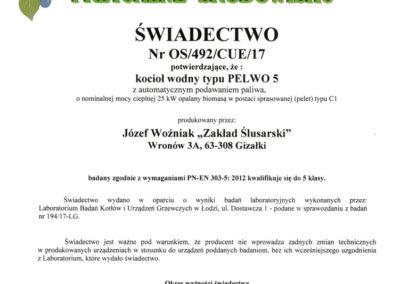 Certyfikat 5 klasy dla kotła Pelwo 5. Certyfikacja w Instytucie Energetyki w Łodzi. Możliwość pozyskania dotacji na zakup kotła 5 klasy na pellet.