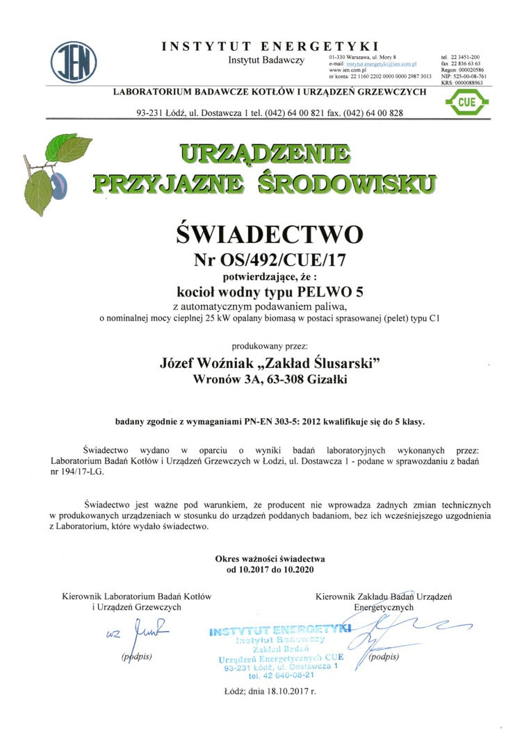 Świadectwo uzyskania 5 klasy wg PN-EN 303-5:2012 przez kocioł Pelwo 5 z automatycznym podajnikiem na pellet.