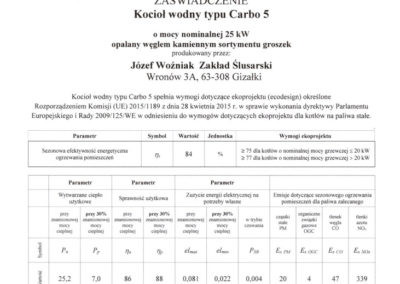 Carbo 5 certyfikat ecodesign