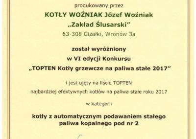 Kocioł CARBO 5 na drugim miejscu w Polsce, a pierwszym w Wielkopolsce wśród kotłów 5 klasy i ecodesign.