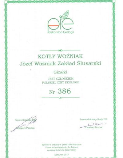 Członkowstwo wPolskiej Izbie Ekologii (pie) Kotły Woźniak