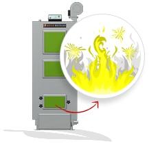 Nierównomierne spalanie opału w kotle z podajnikiem